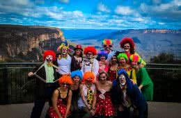 How To Plan A New Year's Eve In The Wild Amy Molloy, Henry Brydon, clowns, fancy dress, dress up, wigs, crew