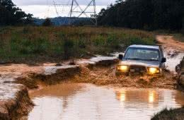 Hardcore 4WDing In Watagan State Forest, Henry Brydon, off-road, mud, water crossing, headlights, submerged