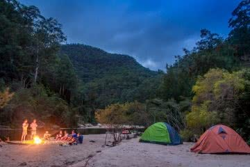 Top 6 Sydney Camping Escapes (by Public Transport), Henry Brydon, Royal National Park, tent, campfire, beach, tent