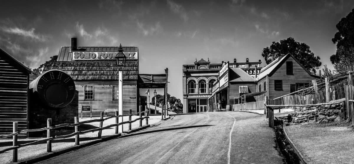 The Ultimate Land Rover Road Trip Around Australia Henry Brydon, old town, foundry, black and white, old buildings, road