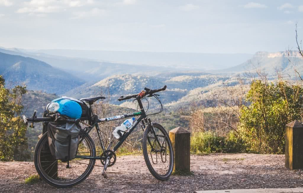 Vaga-biking // 8 Overnight Bicycle Adventures Near Sydney Henry Brydon, bike, camping gear, view, lookout, trees