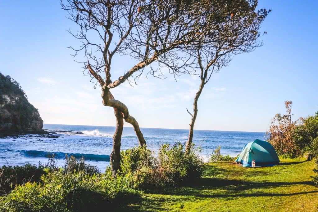 Whiskey and Waves, Henry Brydon, Central Coast, 'The Penthouse' at Little Beach Campground, Tent, Waves