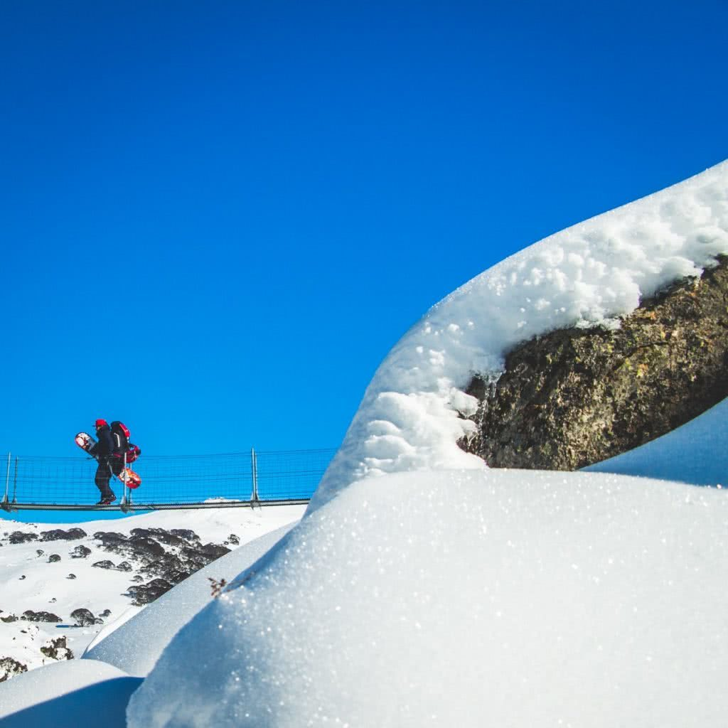 Snowy Mountains Splitboarding (NSW), Henry Brydon, snowboard, backpack, bridge, hiking, snow crystals, glinting