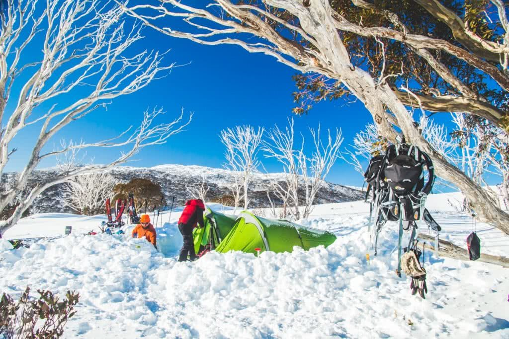 Snowy Mountains Splitboarding (NSW), Henry Brydon, snow, trees, camp, tents, backpack