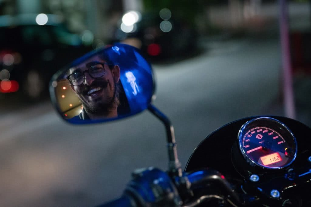 An Urban Adventure // Sydney (NSW) Henry Brydon, Photo Daniel Bolt, motorbike, rear view mirror, speedo, smile, reflection, glasses