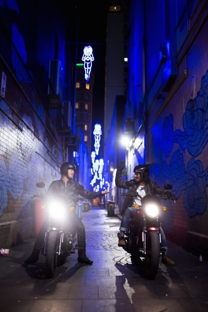 An Urban Adventure // Sydney (NSW) Henry Brydon, Photo Daniel Bolt, motorbikes, headlights, city lights, betty boop, alleyway