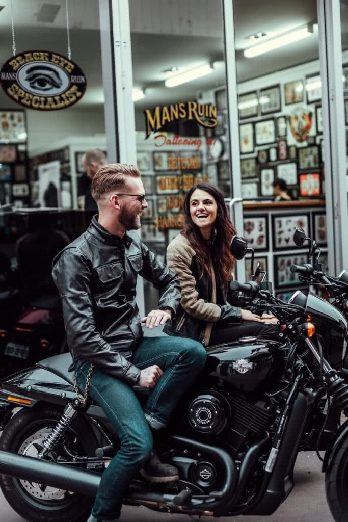 Another Urban Adventure // Melbourne (VIC), Henry Brydon, motorbike, leather, laughing