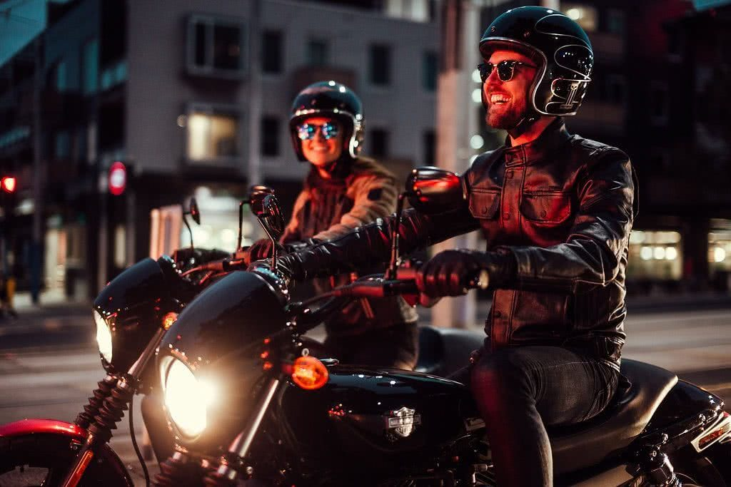 Another Urban Adventure // Melbourne (VIC), Henry Brydon, motorbike, leather, laughing, night, lights