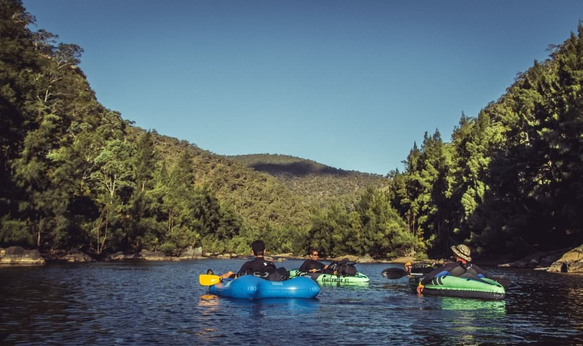 Packrafting The Shoalhaven River // Morton NP (NSW), Henry Brydon, blow up boats, floaties, forest, water, group, paddling