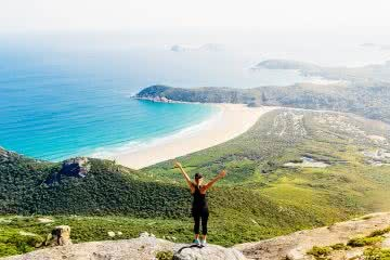 Tidal River Campground // Wilsons Promontory (VIC) Jack Brookes, beach, view, dunes, lookout, headland, woman, awe