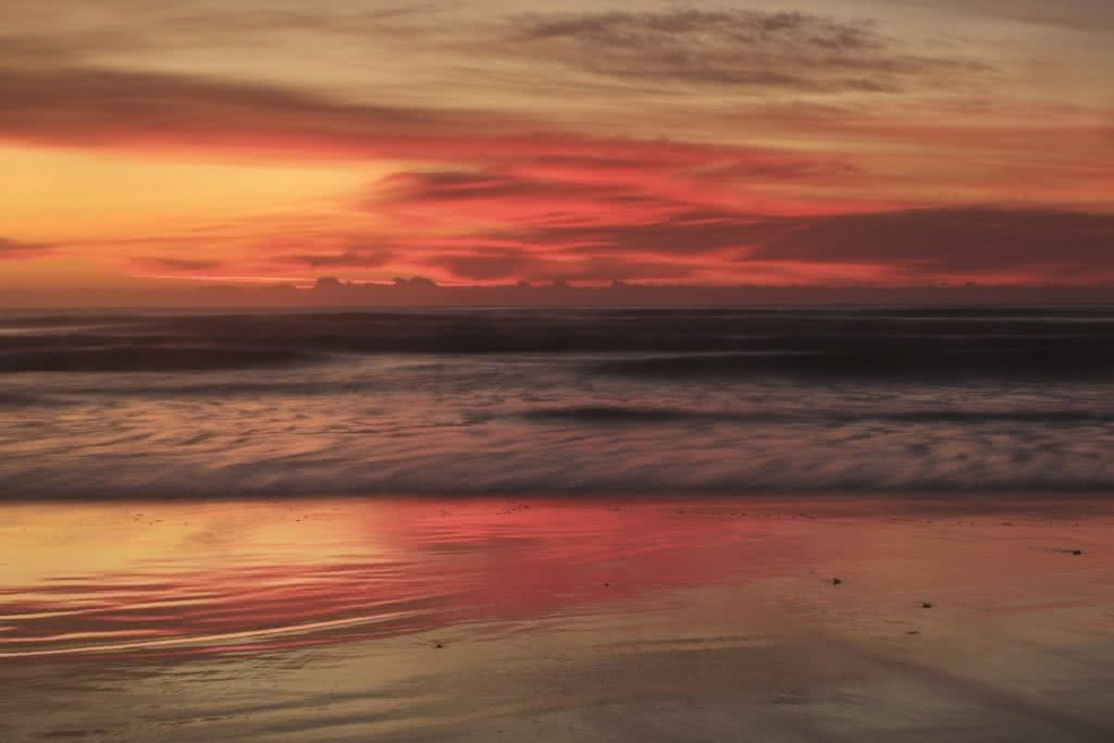 Blissed Out Beach Days // Mid North Coast (NSW), Holly Shoebridge, red, sunset, waves, beach, reflection, sand, clouds