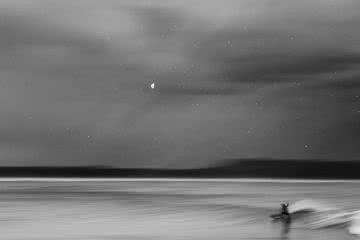 Blissed Out Beach Days // Mid North Coast (NSW), Holly Shoebridge, surfer, wave, long exposure, speed blur, moon, headland, Crescent Head, turn, black and white, point break