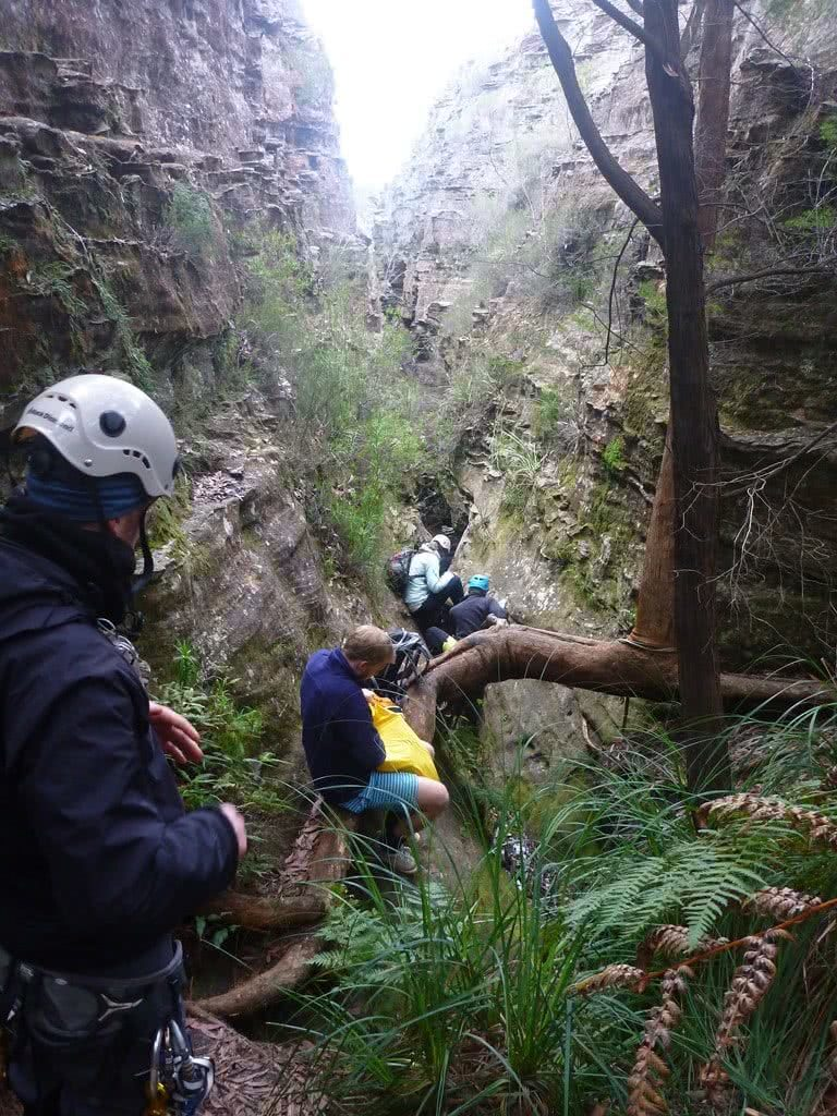 Winter Canyoning at Tiger Snake Canyon // Newnes (NSW,) Warwick Harding, hikers, helmet, gorge, walls