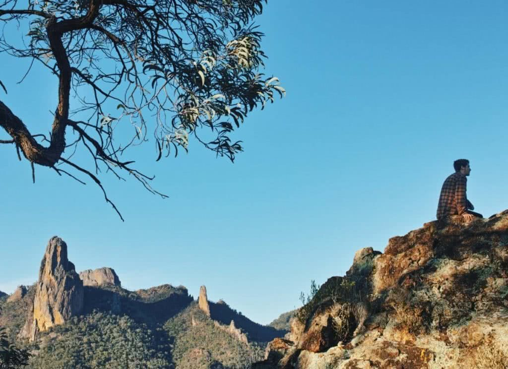 Trekking the Warrumbungles // Macha Tor and Grand High Tops (NSW), Harry Candlin, rock formations, sitting, tree, hillside