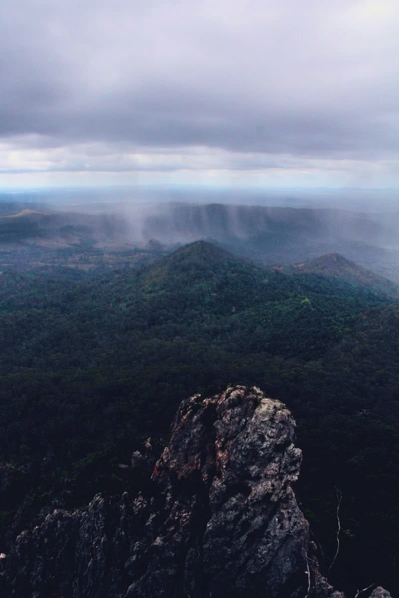 Rock Scrambling & Cave Exploring at Flinders Peak Jade Stephens Flinders Peak QLD mountains mist