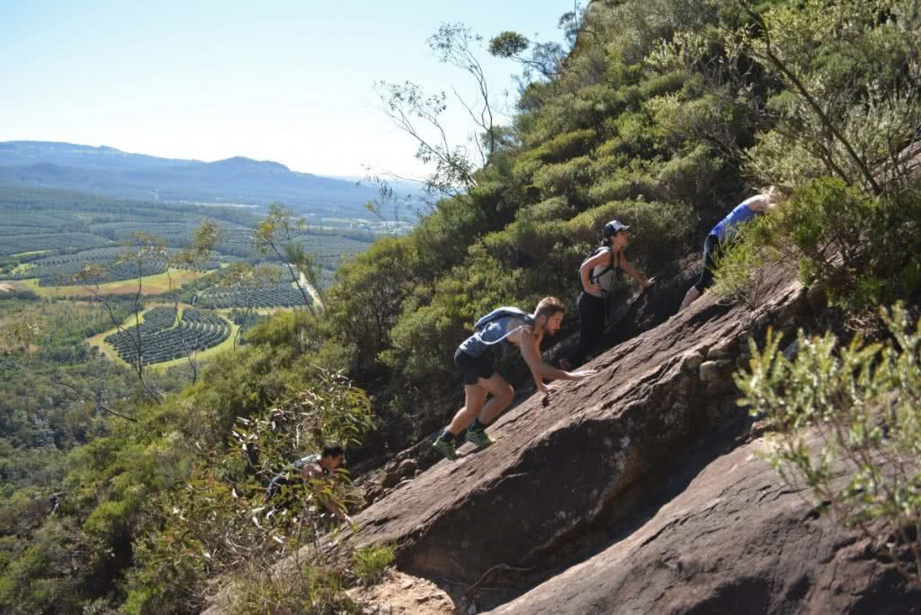 Rock Scrambling The Glass House Mountains (QLD) Lisa Owen BeerwahClimb, slab, incline, bushes,