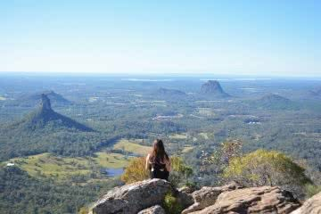 Rock Scrambling The Glass House Mountains (QLD) Lisa Owen, lookout, view, person, beauty, peaks, distance, horizon