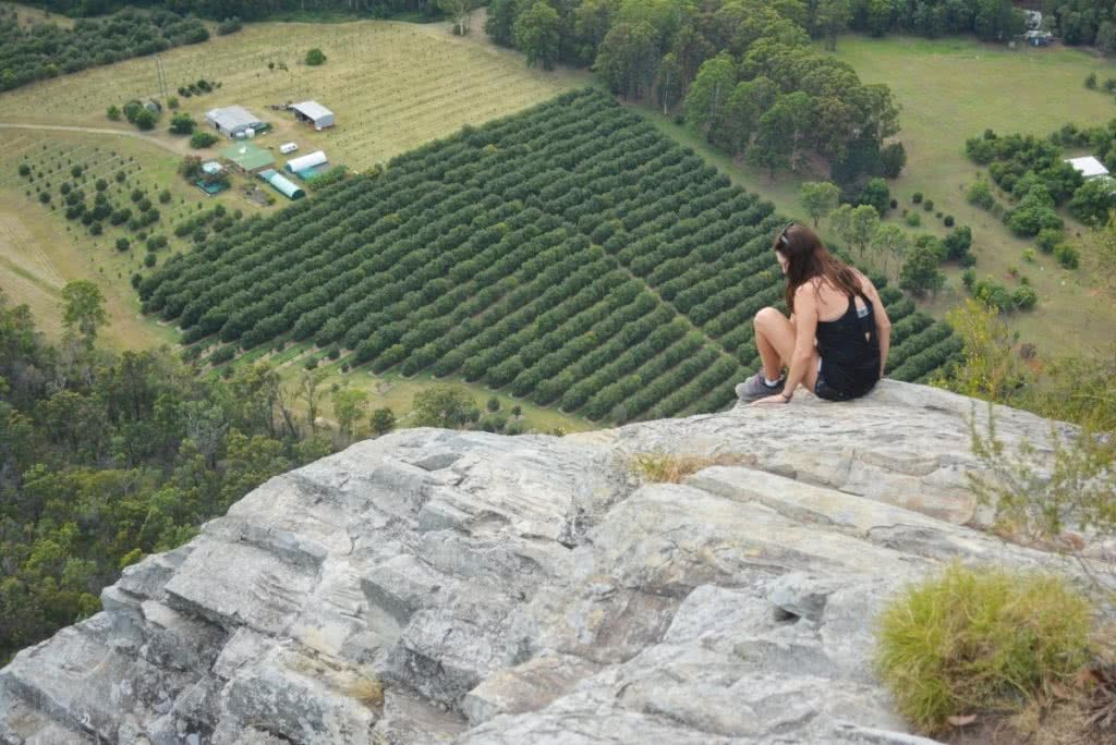 Rock Scrambling The Glass House Mountains (QLD) Lisa Owen TibrogarganEdge, fields, crops, lookout, ledge, sitting, looking, farm