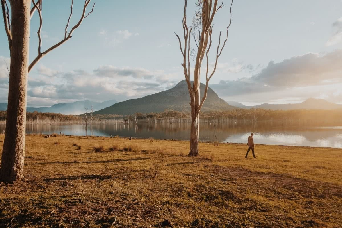 Harry Candlin Overnighter At Lake Moogerah QLD. tree, lake, mountain, person