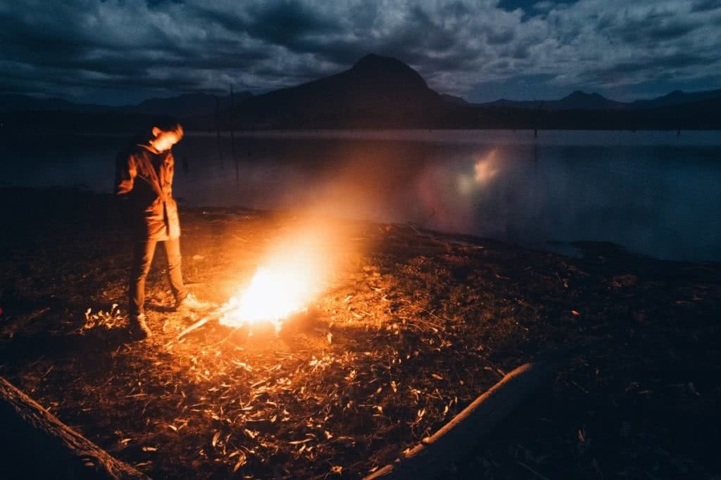 Harry Candlin Overnighter At Lake Moogerah QLD. fire, lake, mountain, person, firelight, clouds