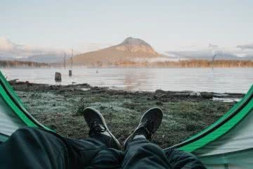 Harry Candlin Overnighter At Lake Moogerah QLD. boots, legs, lake, mountain