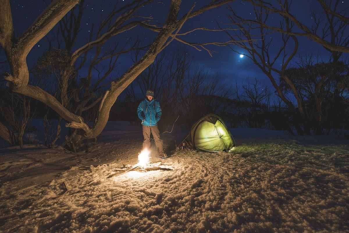 Solo Snowshoeing The High Plains // Falls Creek (VIC), Michael Harris, tent, lit, tree, snow, camper, campfire