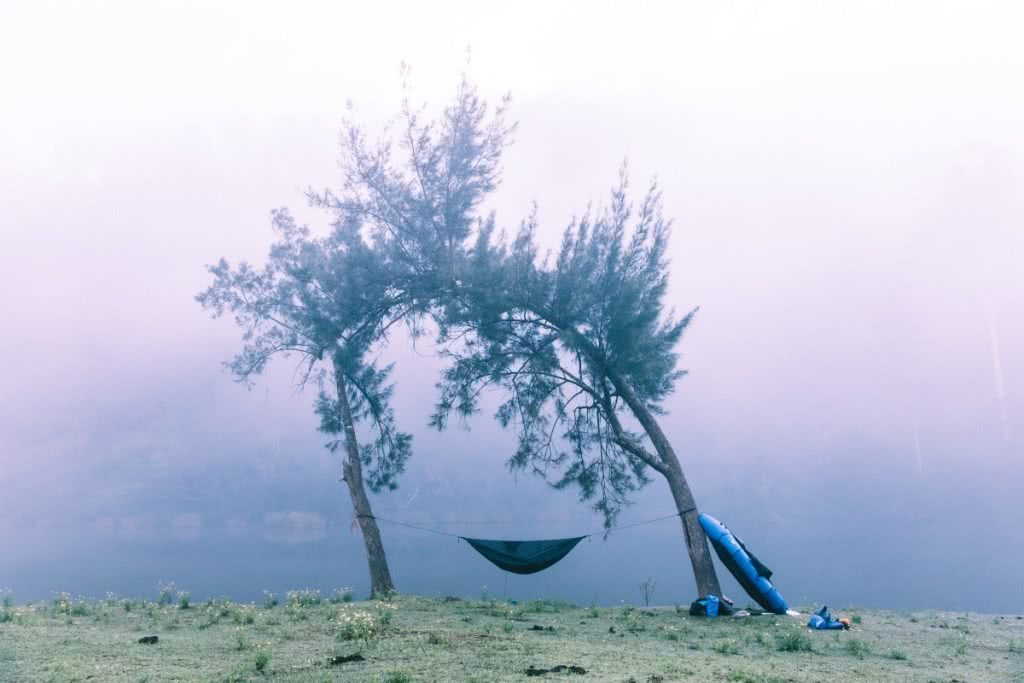 Why I Started We Are Explorers, Henry Brydon, hammock-morning-1 trees, packraft