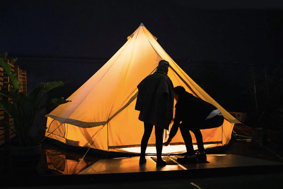 Rooftop Camping in Melbourne Amy Molloy, tent, city, couple, lights, urban