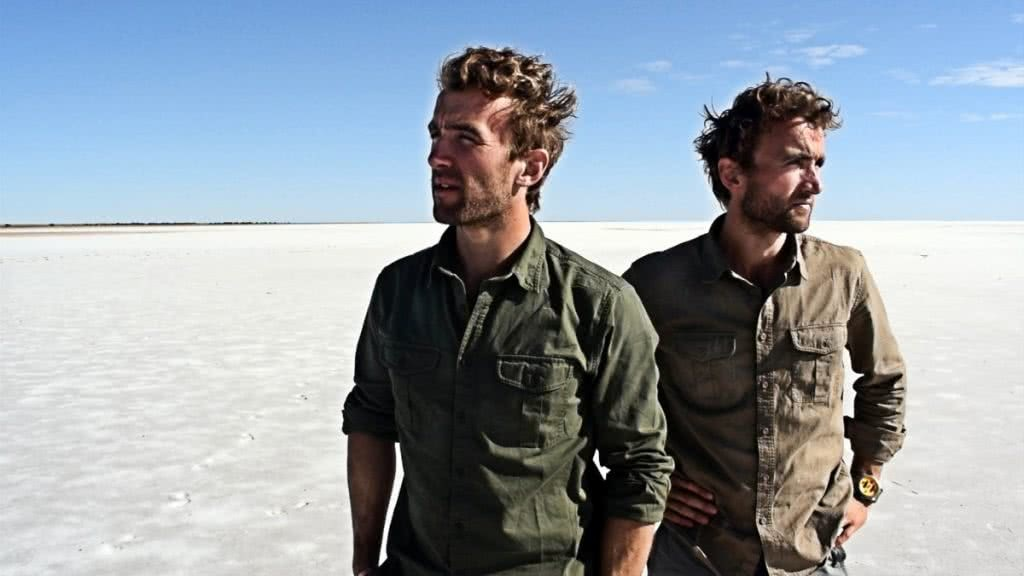 The Twins who Flew to the Australian Red Pole Henry Brydon, salt desert, brothers, khaki