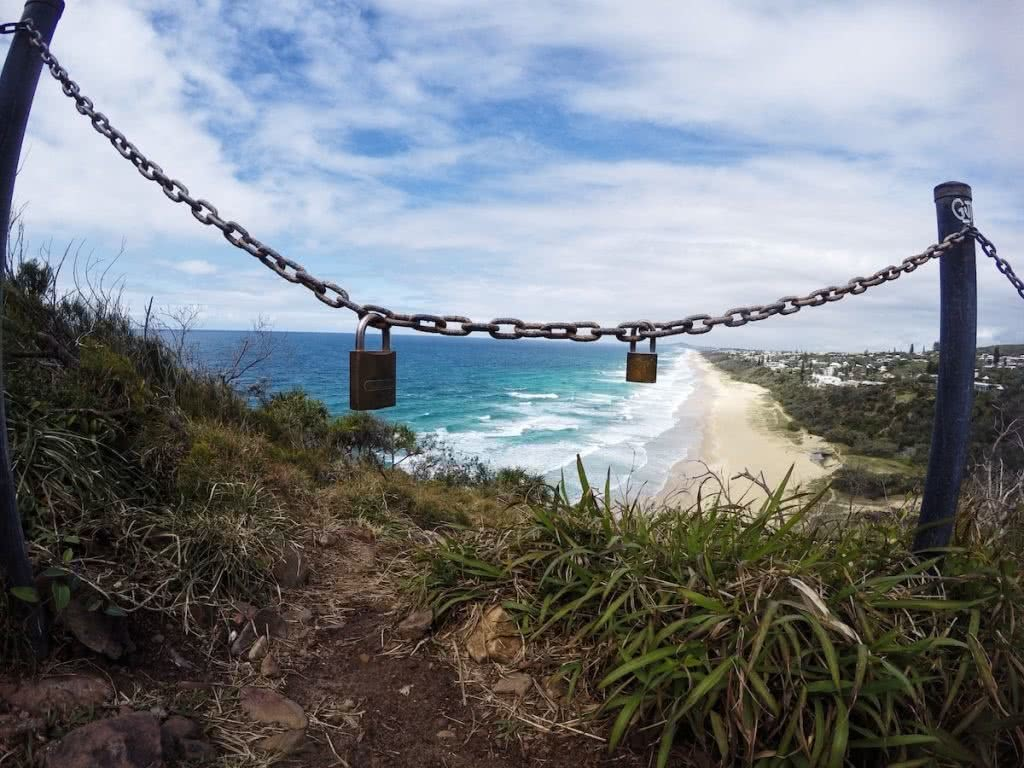 Searching For The Secret Spots Of Noosa National Park (QLD), Mike Pidgeon,, chain, padlocks, ocean, beach, waves, grass, sand dune
