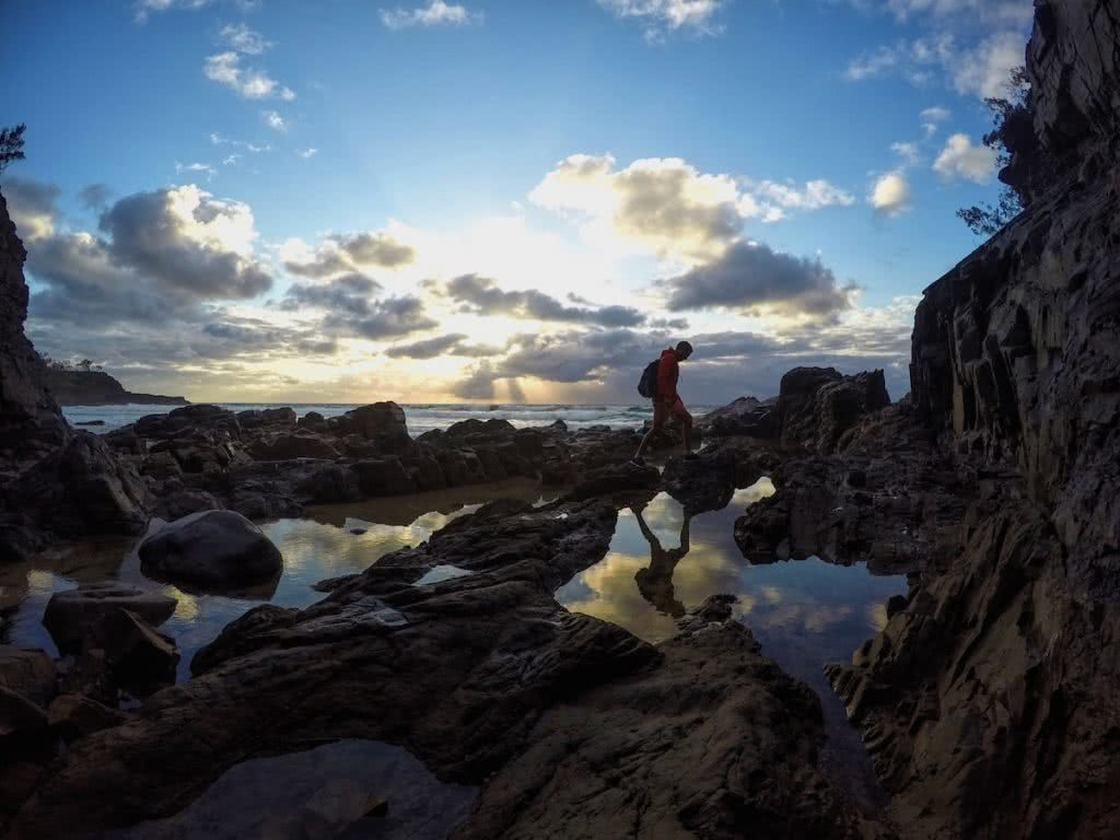 Searching For The Secret Spots Of Noosa National Park (QLD), Mike Pidgeon, rock pool, hiker, person, reflection, sky, mirror, sunrise