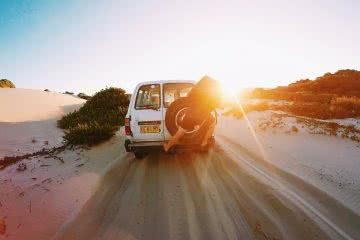 red head beach, jimmy DS, 4WD sunset