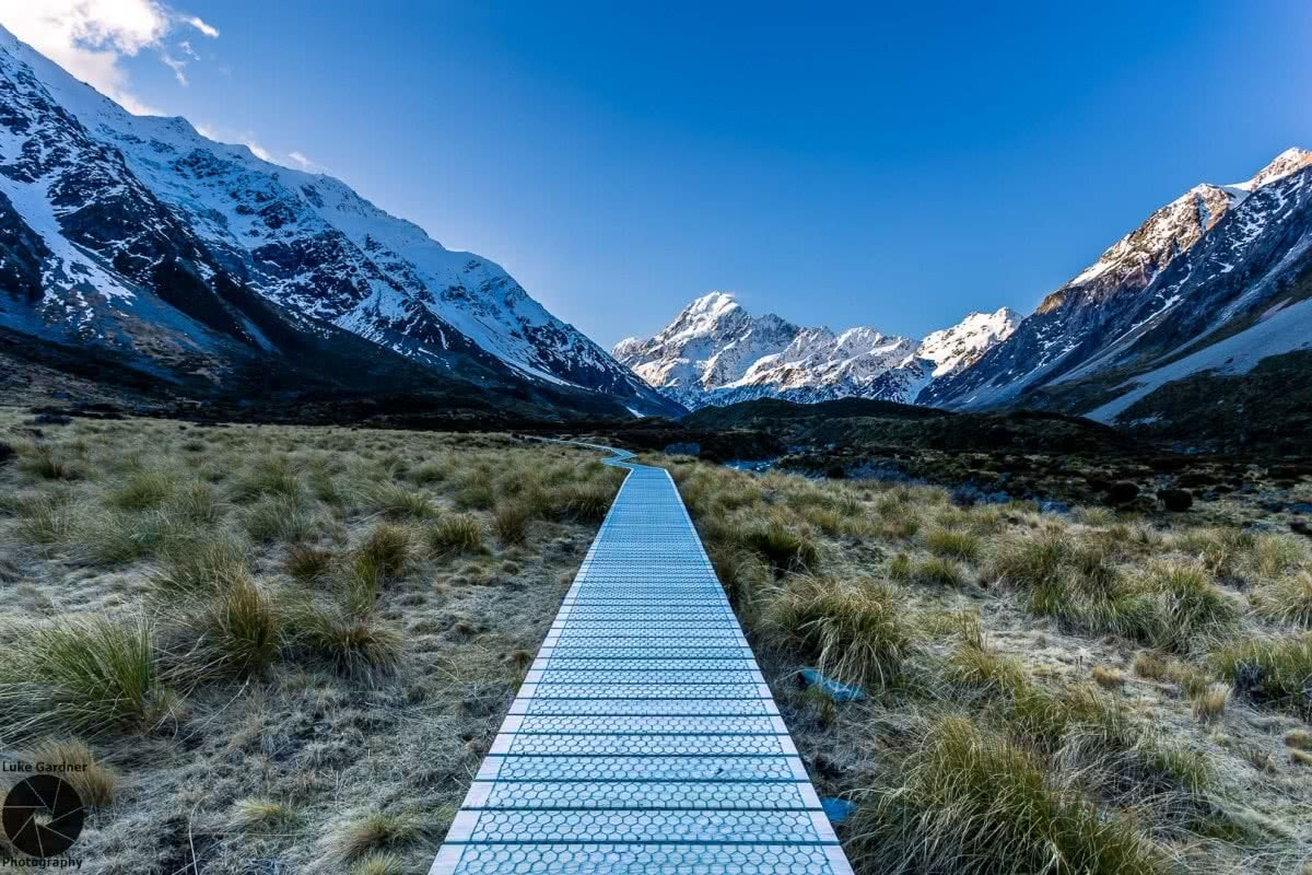 Luke Gardner Hooker Valley Track New Zealand boardwalk mountains