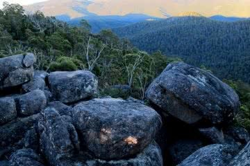 Square Rock // Namadgi National Park (ACT), Shea-Cara Hammond, boulders, peak, view, light, hillside, bush