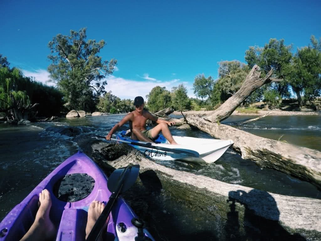 Kayaking the Murrumbidgee River (NSW), Mike Pidgeon, logs, kayaks, paddles