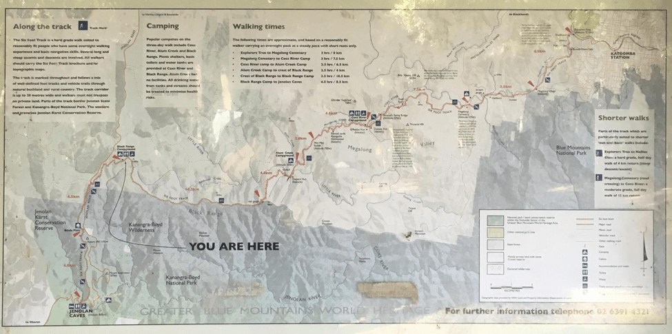 Hiking the Six Foot Track, Six Foot Track map