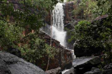 jack hunt robin falls northern territory, waterfall, boulders, front view