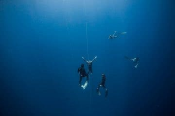 How to Feel At Home Underwater (By a Champion Freediver) William Trubridge, Amy Molloy, blue, freedivers, fins