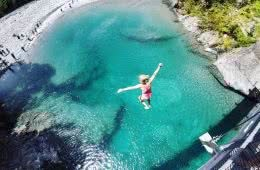 Bridge Jumping At Blue Pools // Haast Pass (NZ) tiffany hulm, water, jumping beach, people, down, fall, turquoise