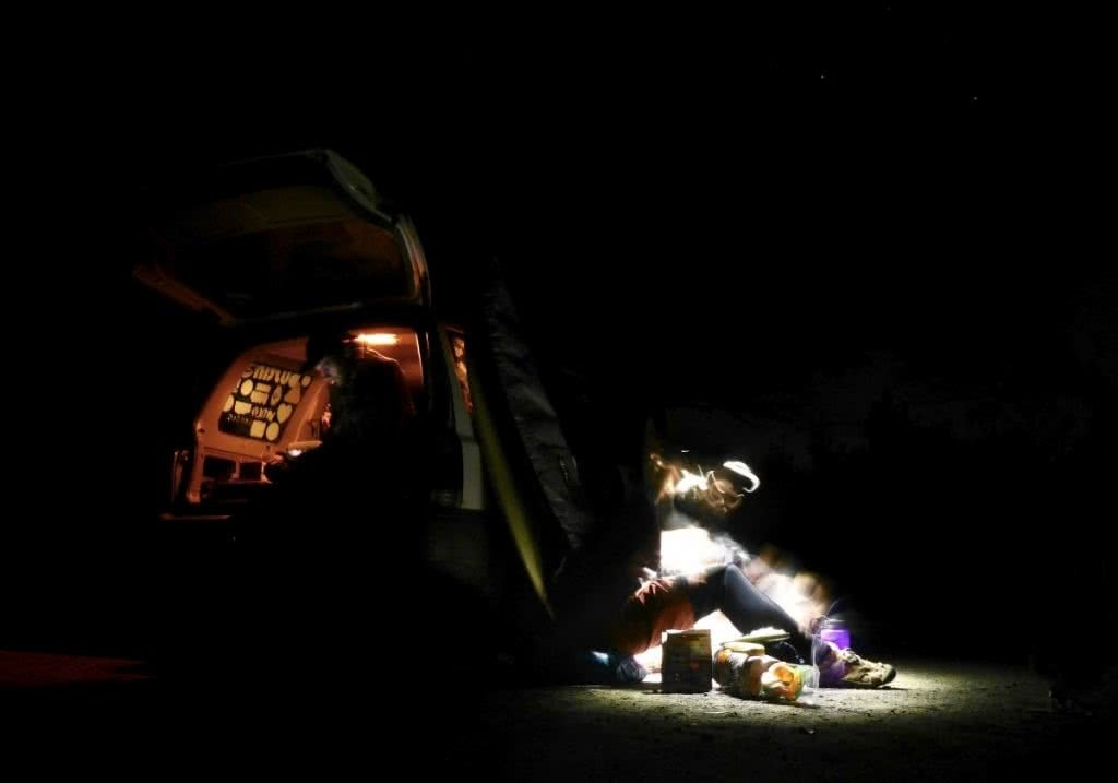 The Weekender Extender, Tim Ashelford, carpark camping, dark, night time, torchlight