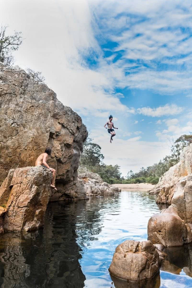 Blue Pools, Vic, Patrick Corden, rock jump, swimming
