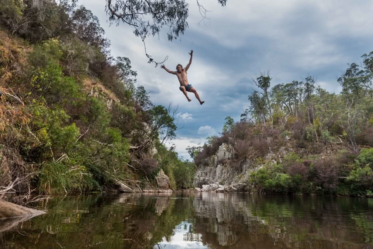 Blue Pools, Vic, Patrick Corden, rock jump, swimming, rope swing