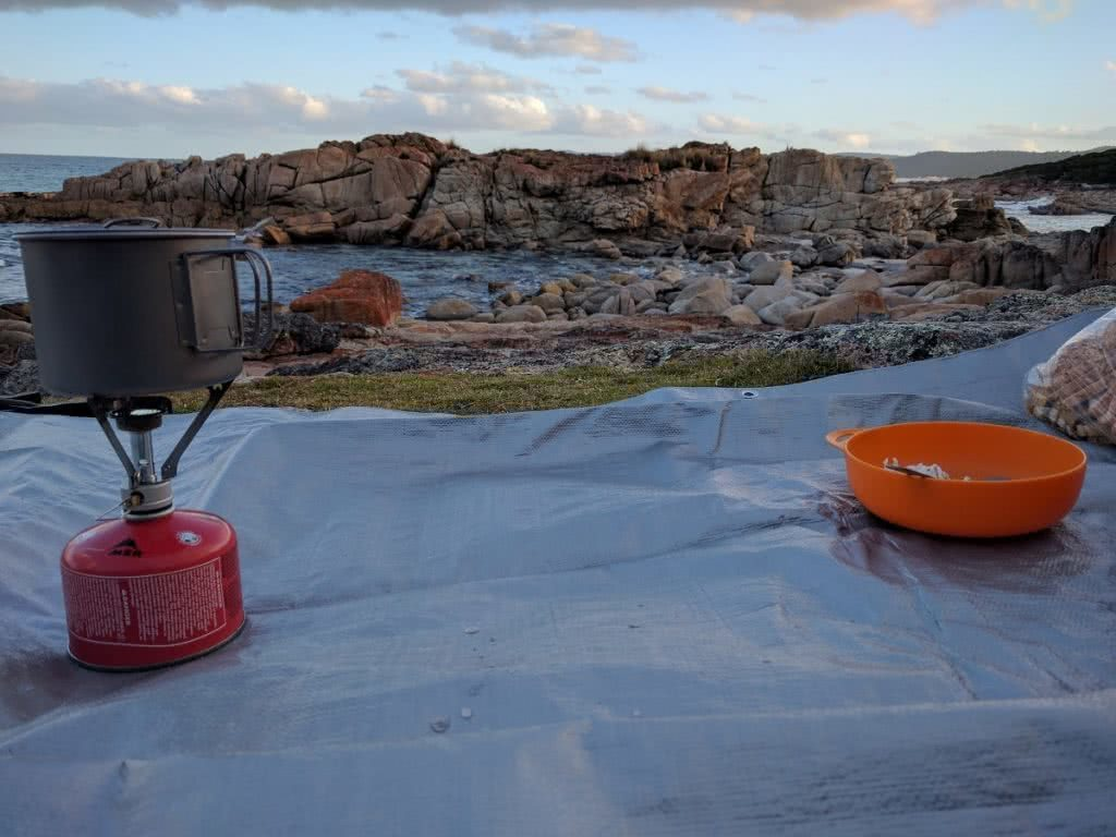 Camping The Friendly Beaches (TAS), Isaac Probert, sunrise, sunset, cooking, camping gear, equipment, tarp