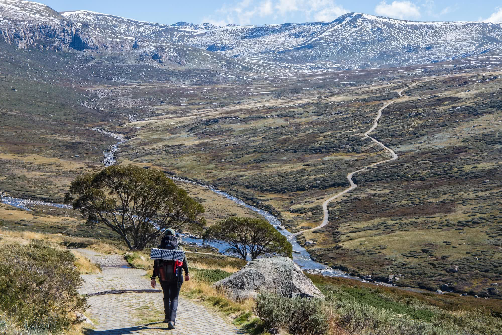Overnighting On The Main Range // Kosciuszko National Park (NSW), Rachel Dimond, Main Range Kosciuszko, snow winter, mountains, track, trail, hike, woman, river, creek, pack, Snowy Mountains