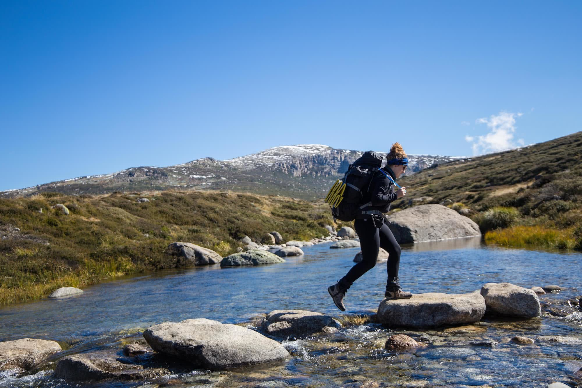 Overnighting On The Main Range // Kosciuszko National Park (NSW), Rachel Dimond, Main Range Kosciuszko, snow winter, creek, river crossing, pack, hike, woman, mountain