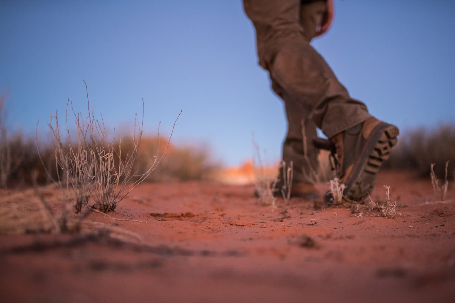 outback way rob mulally man walking in desert