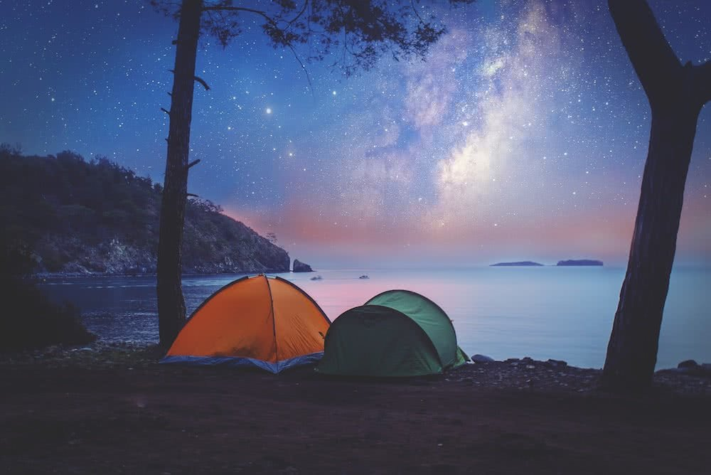 tent night time astrophotography shutterstock stars milk way