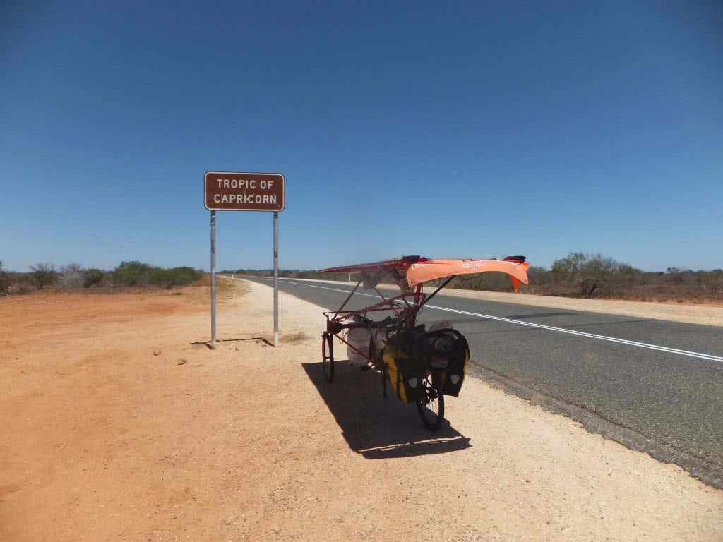 Sam Mitchell, Solar bike, canning stock route, outback, solar power, recumbent, tricycle, tropic of capricorn