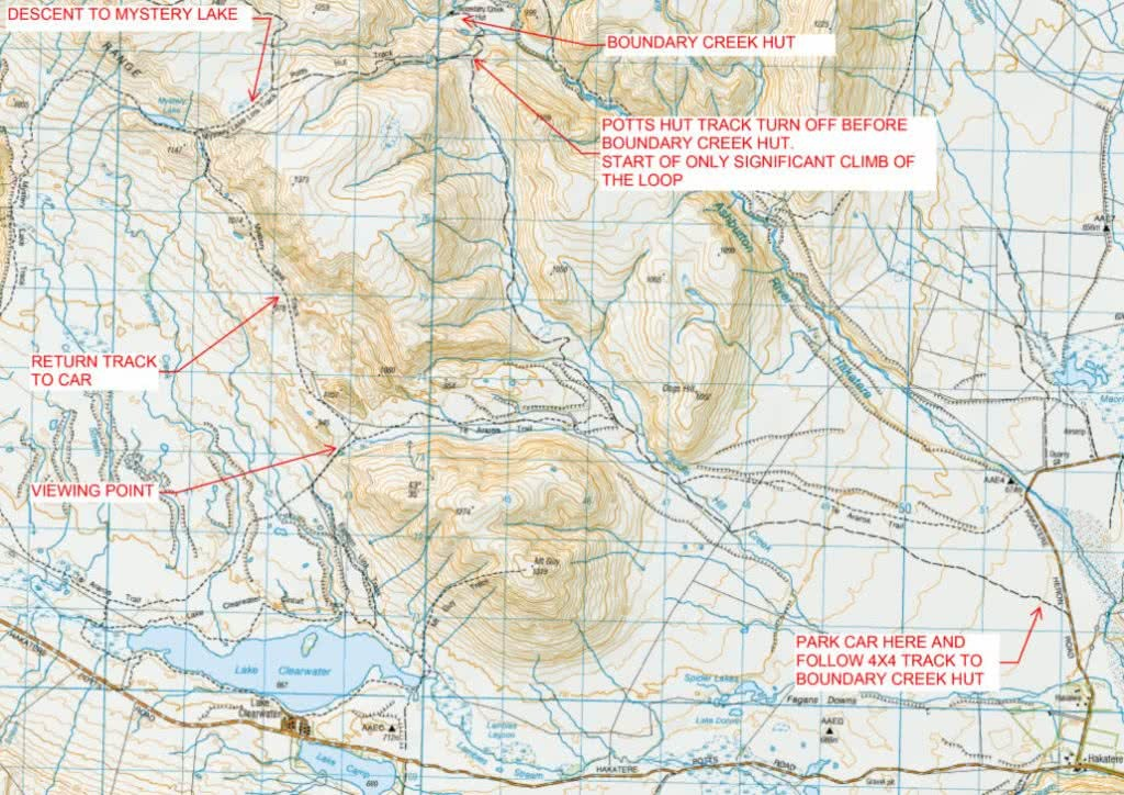 Oshy Dog Tails Hakatere Conservation Park Map of Mystery Lake Ian Middleton, map