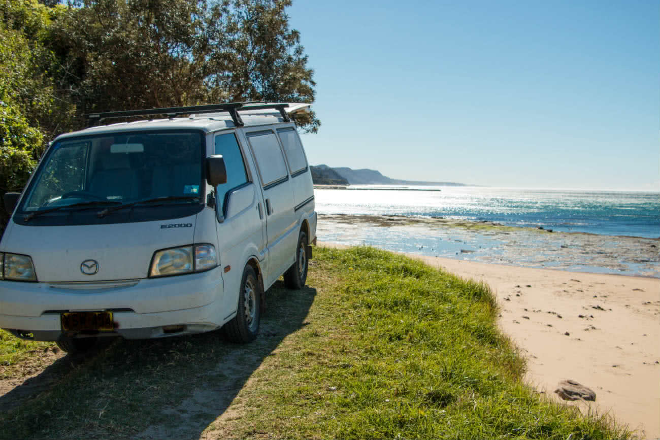 Austi Headland, van life meets real life, Keegan Taccori, waves, van, ocean, beach, grass